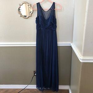 David's Bridal Navy Bridesmaid Dress
